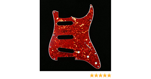 Tortoise Red Custom 4 Ply Guitar Pickguard Compatible With Strat Guitar SSS
