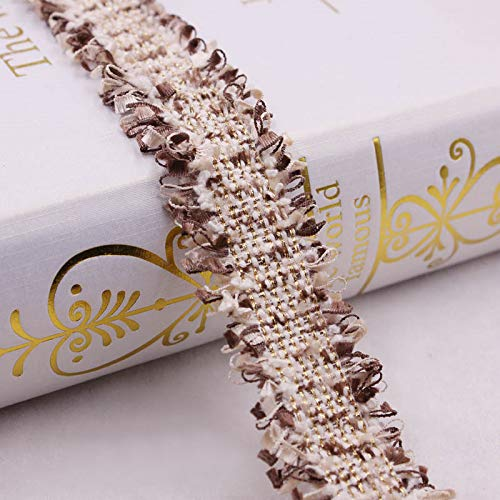 2 Yard Nylon Frayed Lace Edge Ribbon 3.3cm Width Vintage Style 8 Colours Trimmings Fabric Embroidered Applique Sewing Craft Wedding Bridal Dress Embellishment Decoration Clothes Embroidery (Coffee)