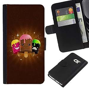 JackGot ( Carino Icecream Amici ) Samsung Galaxy S6 EDGE (NOT S6) la tarjeta de Crédito Slots PU Funda de cuero Monedero caso cubierta de piel
