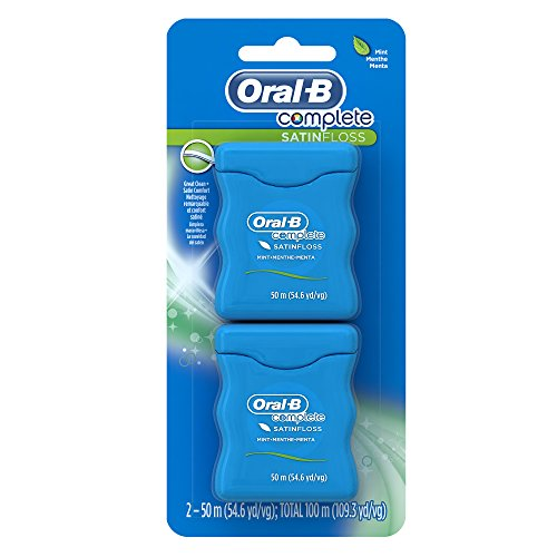 Oral-B Complete Satin Dental Floss Mint, 50m, Twin Pack (Dental Floss Glide Mint)