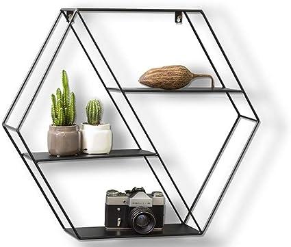 LIFA LIVING Estantería de Pared con 4 estantes, Metal, Diseño Vintage, para Libros, Fotos, Botellas, Premontada (Forma Hexagonal: 58x51x11cm)
