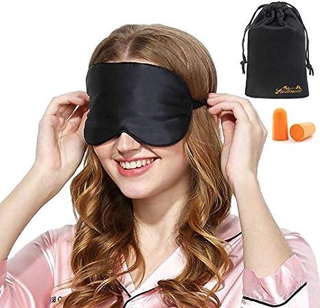 Voyage et Jour 12 Paquets Masque Pour les Yeux Masque de Sommeil en Soie pour Femmes et Hommes Bandeau des Yeux Doux en Soie avec Sangle /Élastique pour Sommeil de Nuit