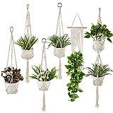 Plant Hangers Set of 6 Pack Indoor Hanging Planters Handmade Cotton Rope Flower Pot Holder for Plants Indoor Outdoor Home Decor (3 Sizes)