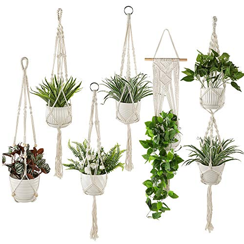Plant Hangers Set of 6 Pack Indoor Hanging Planters Handmade Cotton Rope Flower Pot Holder for Plants Indoor Outdoor Home Decor (3 Sizes)