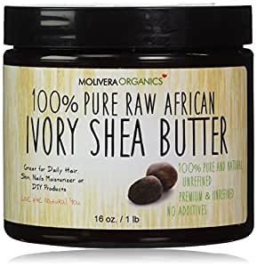 Molivera Organics Raw African Organic Grade A Ivory Shea Butter for Natural Skin Care, Hair Care - 16 oz.