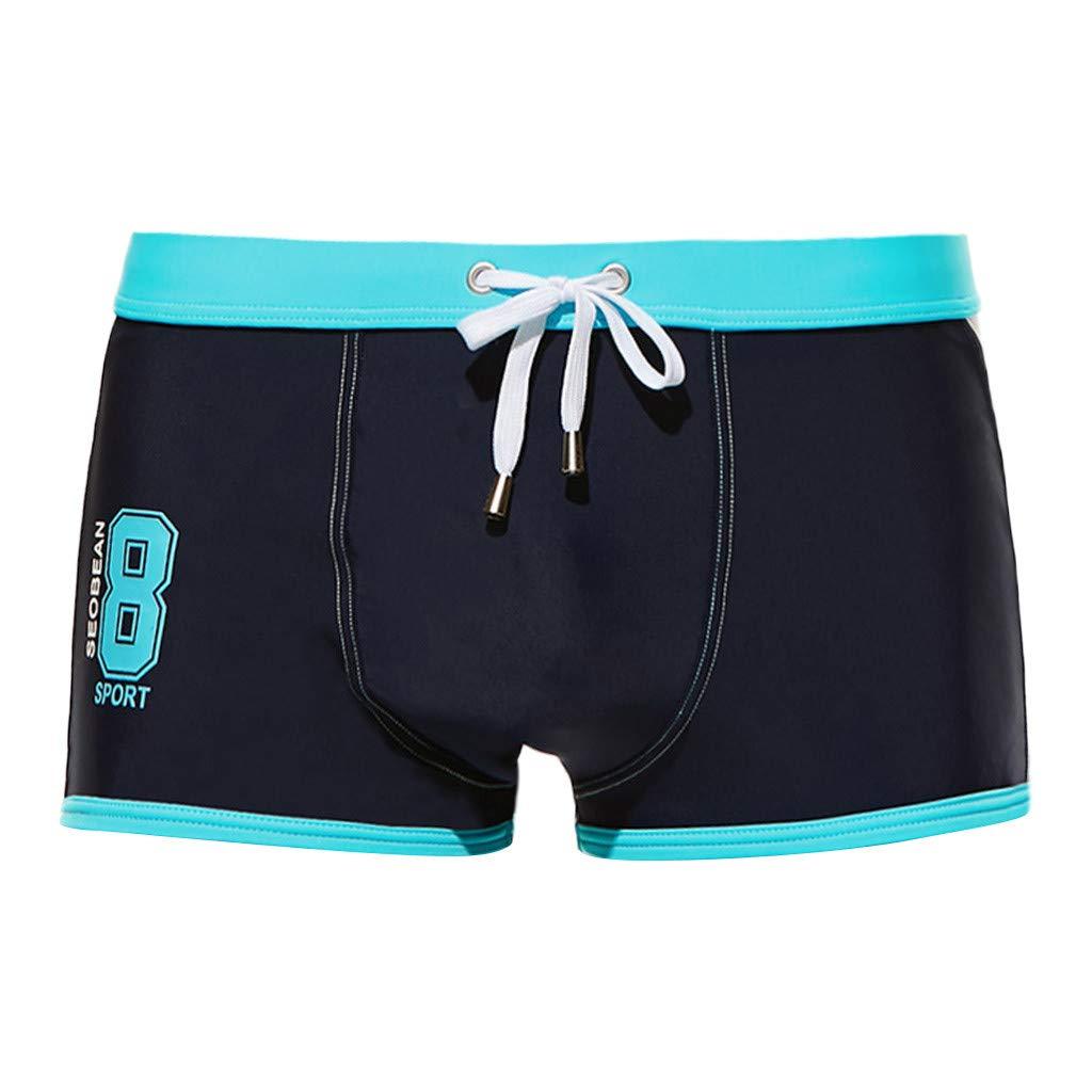 Cortos de Verano para Hombre Pantalones bañadores de natación Cintura Baja Moda Apretado Cómodo Transpirables Pantalones de ángulo Plano MMUJERY