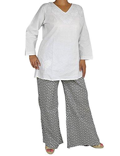Hecho a mano indio para mujer Colorful Floral Palazzo Pants–Pantalones de algodón de verano para las mujeres Negro Blanco