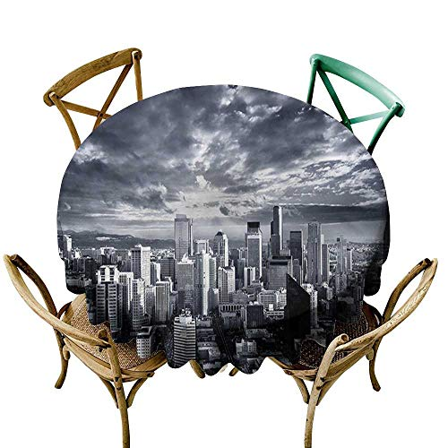 (ScottDecor Round Tablecloth spillproof Wanderlust,Seattle City Buildings D50,for)