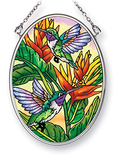 Amia Hummingbirds and Golden Heliconia, Hand-Painted Glass Oval Suncatcher, 4-1/4 Inches High, 42486