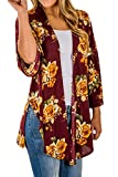 LuckyMore Women's Casual Floral Printed Long Open Front Drape Hem Lightweight Cardigan Wine Red S