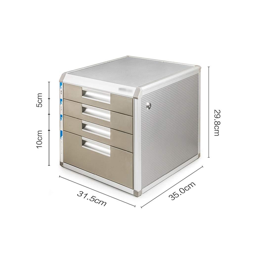 QSJY File Cabinets Document Storage Cabinet, Desktop Extension Drawer Lockable Office Organizer (Wood Board/Aluminum Alloy/Plastic) 35x26.8x29.8cm