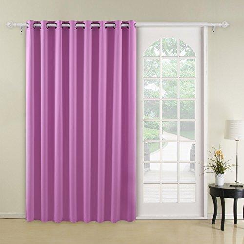 Deconovo Blackout Drape Wide Width Grommet Bedroom Curtains for Windows 1 Panel, 100x84, Super Pink
