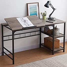 """OIAHOMY Home Office Desk 55"""" Computer Desk, Large Draft Drawing Table with 2-Tier Shelf Multifunctional Study Writing…"""