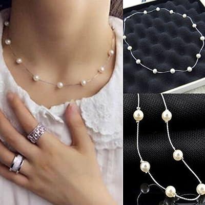 Fashion Charm Jewelry Pearl Choker Chunky Statement Bib Pendant Chain Necklace