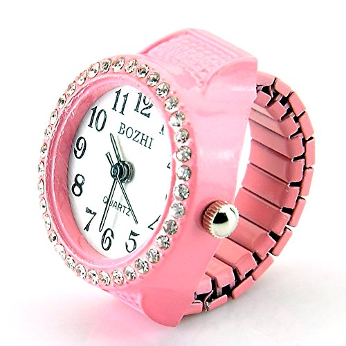 Pink Womens Crystal Quartz Finger Ring Watch with Gift Box