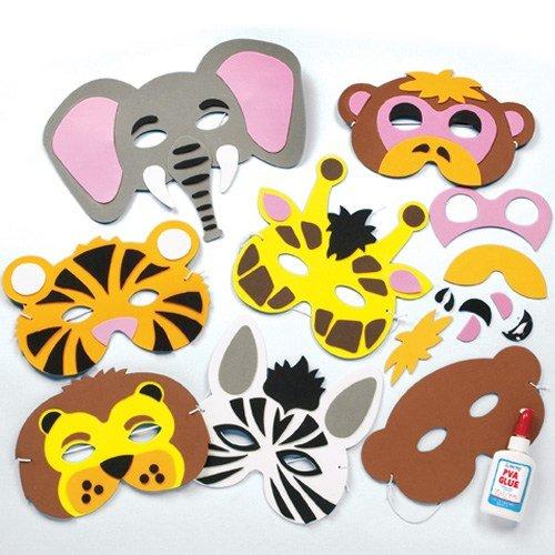 Bastelset für Masken aus Schaumstoff - Tiere des Dschungels - für Kinder ideal zum Kindergeburtstag und Karneval - 6 Stück Baker Ross
