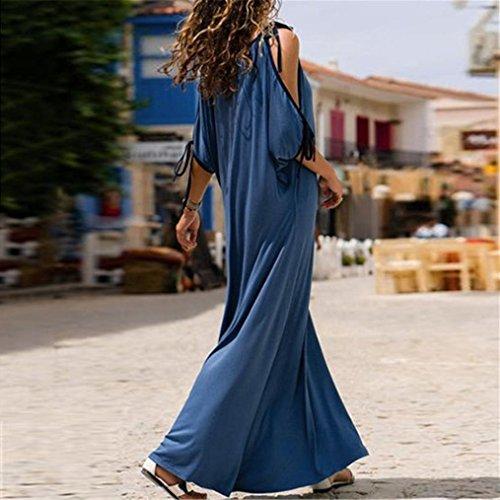 Corta Lungo Vestito Donne Fredda Aimtoppy Dalla gratuito Blu Del Solido Spalla Delle Estate V Blu Spiaggia Collo Manica Bandag 7RWHqwf