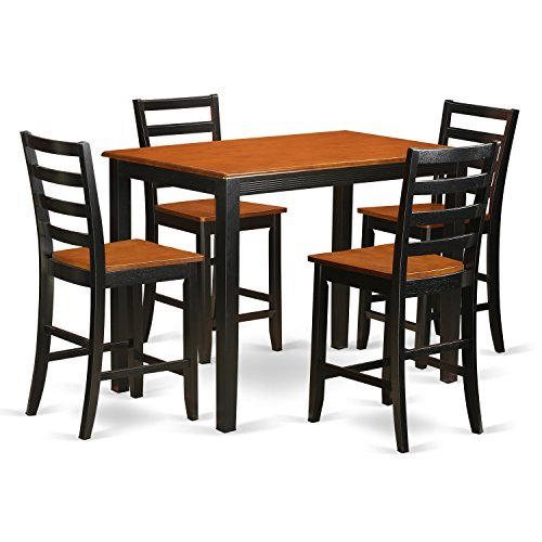 - East West Furniture YAFA5-BLK-W 5 Piece Counter Height Small Kitchen Table and 4 Bar Stool Set