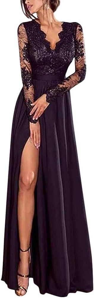 Minetom Kleider Damen V-Ausschnitt Langarm Abendkleider Elegant Spitze Cocktailkleid Maxikleid Lang Partykleid Ballkleid Festkleid