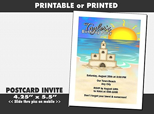 Sandcastle Beach Party Birthday Invitation, Printable or Printed Option
