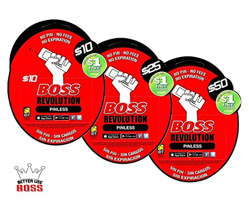 $50 BOSS Revolution Calling Card | No Shipping | Instant Refill Sent to Your Phone | Must Send Mobile Number (See Description Below) ($50 Pin-less Card)