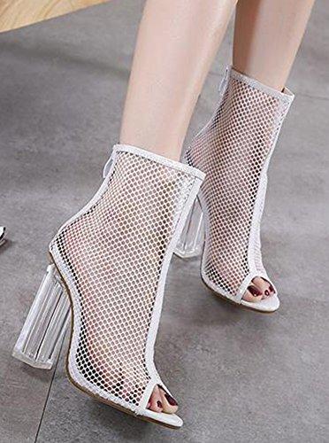 Blanc Bloc Talon Aisun Mesh Mode Toe Sandales Peep Femme UWHHcqnC