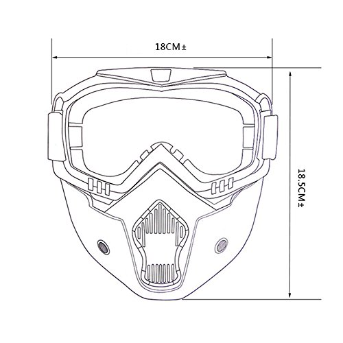 LUCKSTAR Motorcycle Goggles Mask - Detachable Motorcycle Helmet Riding Goggles Glasses Harley Style Protect Padding Helmet Sunglasses, Road Riding UV Motorbike Glasses (Yellow) by LUCKSTAR (Image #4)