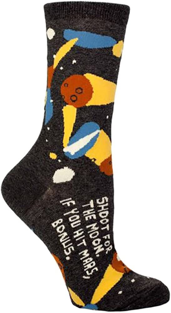 Blue Q Shoot For The Moon Socks,One Size (fits women's shoe size 5-10 US)