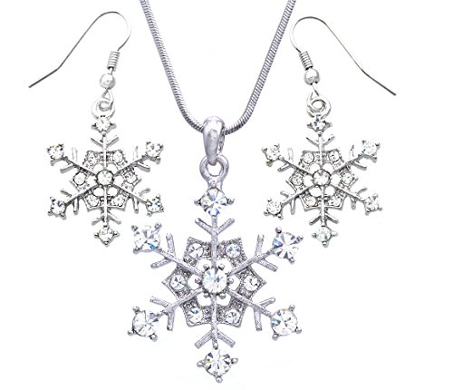 Soulbreezecollection Winter White Snowflake Pendant Necklace Earrings Bridal Wedding Bridesmaid Prom