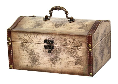 Vintiquewise(TM) Old World Map Leather Vintage Style Decorative Treasure Box
