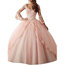 Ruisha Women V Neck Lace Appliques Sweet 16 Dresses Long Sleeves Ball Gown Quinceanera Dresses RS0021