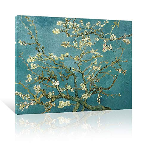 JAPO ART Almond Blossom Modern Framed Floral Giclee Canvas Prints by Van Gogh Famous Oil Paintings Reproduction Flowers Pictures on Canvas Wall Art Ready to Hang for Bedroom Home Decorations 16