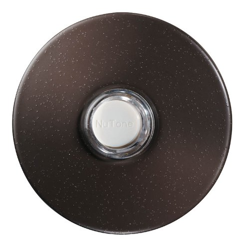NuTone PB41LBR Wired Lighted Round Stucco Door Chime Push Button, Oil-Rubbed Bronze