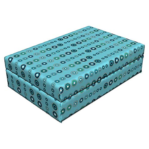 Medallion Classic 16 - Lunarable Turquoise Pet Bed, Vertical Medallion Shapes Ornate Celebrations Holidays Classics Pattern Print, Animal Mat Foam and Stylish Printed Cover, 24