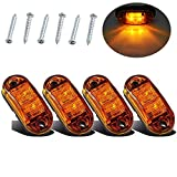 Justech 4PCS Side Marker Lights LED Front Rear Lights Lamps Universal Indicator of Position 12V 24V with Amber Bulbs for Truck Trailer Van Caravan Lorry Car Bus