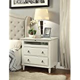 Madison Nightstand with Charging Station in Antique White