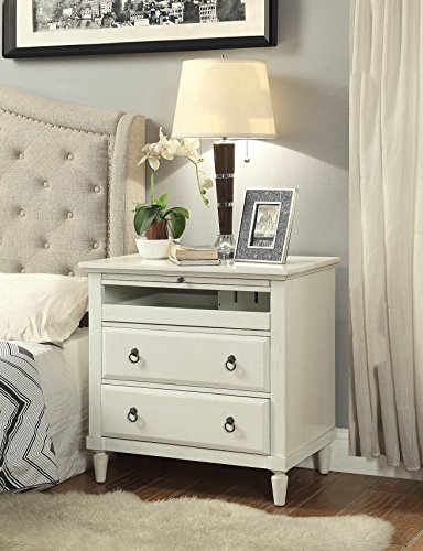 Antique White Nightstand - Madison Nightstand with Charging Station in Antique White