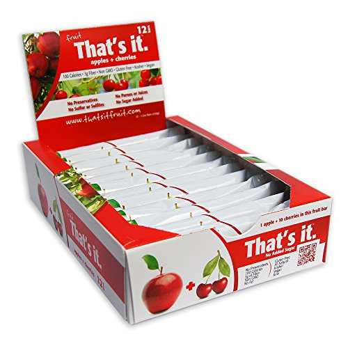 Apple + Cherries That's It. Fruit Bars | 100% Natural Great Tasting Healthy Real Fruit Bar | Vegan, Gluten Free, Paleo, Kosher, Non GMO, 100 Calories, No Preservatives, No Added Sugar | Pack of 12 Apple Granola Bars