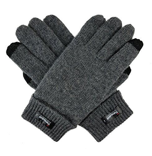 (Bruceriver Men's Pure Wool Knitted Gloves with Thinsulate Lining Size L/XL (Grey)