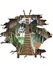 Vloersticker, 3D-vloersticker, trekbrug, muurtattoo, wandsticker, decal, wand, sticker, woonkamer, slaapkamer, vloer, decoratie (Ks6627)