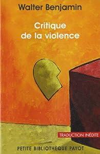 Critique de la violence par Walter Benjamin
