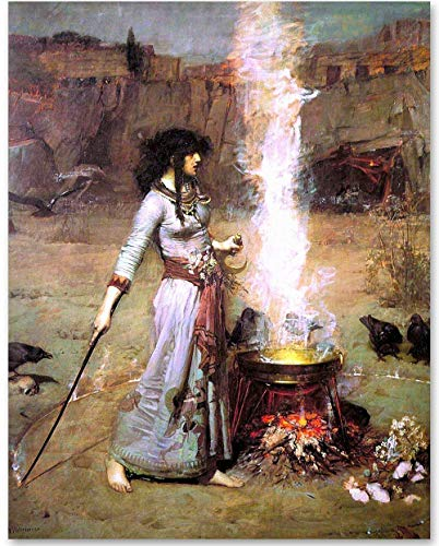 Magic Circle (The Witch) by John William Waterhouse - 11x14 Unframed Art Print - Makes a Great Gift Under $15 for Art Lovers