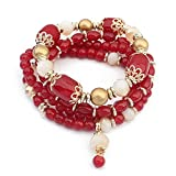Winter's Secret European Palace Vintage Multilayer Elastic Alloy Beaded Wrist Pendant Stretch Bracelet