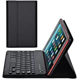AGPtEK Keyboard Case for All-New Amazon Fire HD 8 (7th Generation, 2017 Release), Ultra-Slim Leather Protective Cover with Detachable Wireless Bluetooth Keyboard, Black