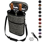 Premium Insulated Wine Carrier Bag by OPUX   Elegant Wine Carrying Tote, Extra Protection, Convenient, Durable Wine Bottle Carrier   Corkscrew Included