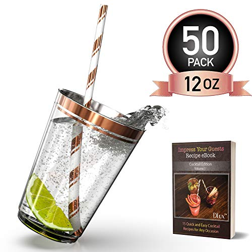 12 oz Rose Gold Rim Plastic Cups with Eco-Friendly Paper Straws - 50 Elegant Clear Rimmed Cocktail & Dessert Tumblers for Weddings & Special Events - Reusable or Disposable - With Drinks Recipe eBook