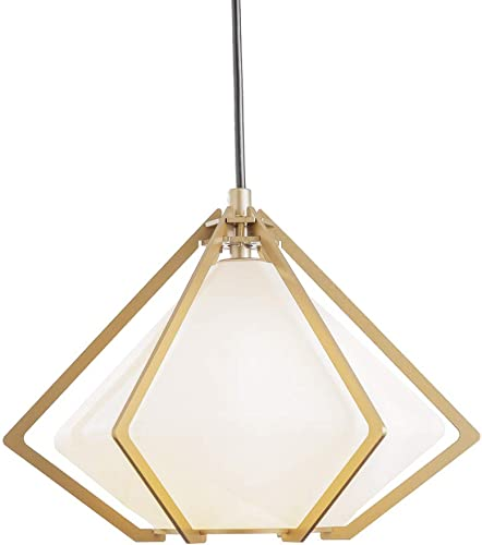 SOTTAE Single Modern Gold Pendant Light Fixture Hanging Light Pendant Lamp, Industrial Cone Pendant Light Glass Pendant Light Fixture,Hanging Pendant Lighting for Kitchen Island,Living Room
