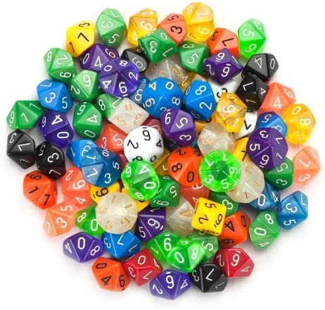 100+ Pack of Random D10 Polyhedral Dice in Multiple Colors By Wiz Dice by Wiz Dice: Amazon.es: Deportes y aire libre