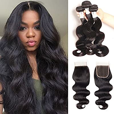 Baby Young Hair Virgin Brazilian Body Wave with Closure Human Hair Bundles with Lace Closure Body Bob Hair Closure 4x4 Lace Free Part Natural Black Color