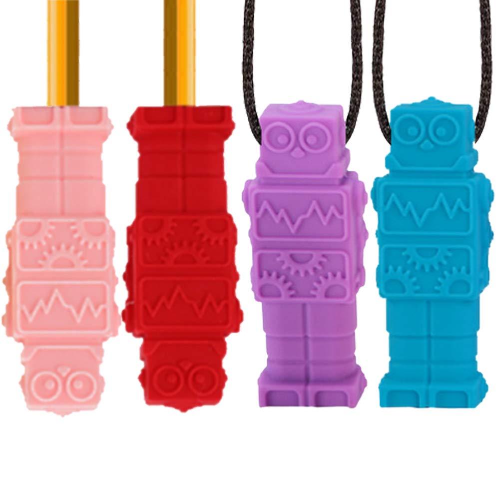Xiangmall 4 Piezas Collar de Masticaci/ón Sensorial L/ápiz Topper Mordedores Sensoriales para Autismo ADHD ADD Mordedor de Silicona para Beb/és